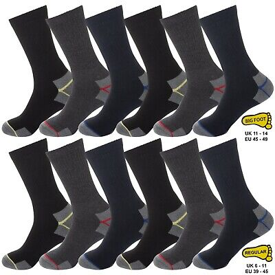6 Pairs Mens Kato Work Socks Size 6-11 Hard Wearing Warm Cushioned Support