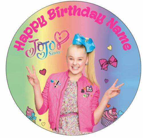 """Jojo BOW Siwa  Personalised 6"""" Stand Up Card BIRTHDAY CAKE Topper FAST SERVICE"""