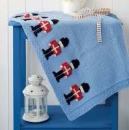 KNITTING PATTERN baby blanket cot pram cover beefeater soldier DK easy DK 86
