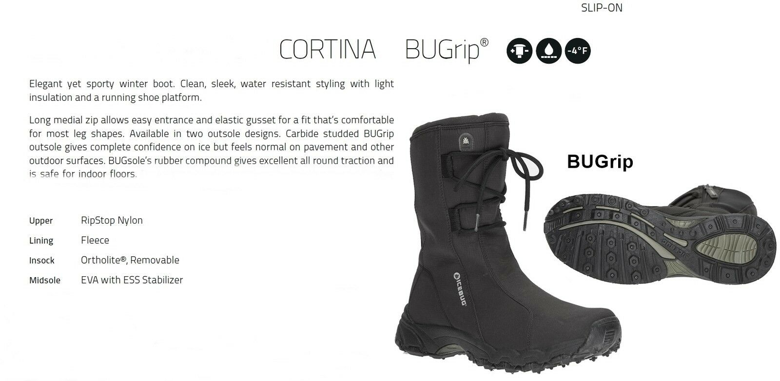 NEW Icebug Cortina Bugsole Bugrip Womens 9.5 Winter Ice Snow Boots shoes Ret