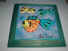 "Peter Pete Faulkner STUDIO Art Pottery 6"" Tile New Zealand Fish Painting SPLASHY"