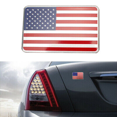 2 NEW CUSTOM CHROME USA FLAG BADGES EMBLEMS CHEVROLET DODGE FORD GMC TOYOTA