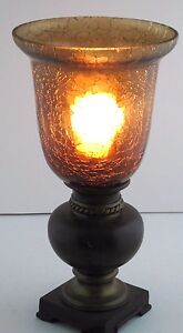 uplight lamp portable luminaire wood metal base amber crackle glass shade vtg ebay. Black Bedroom Furniture Sets. Home Design Ideas