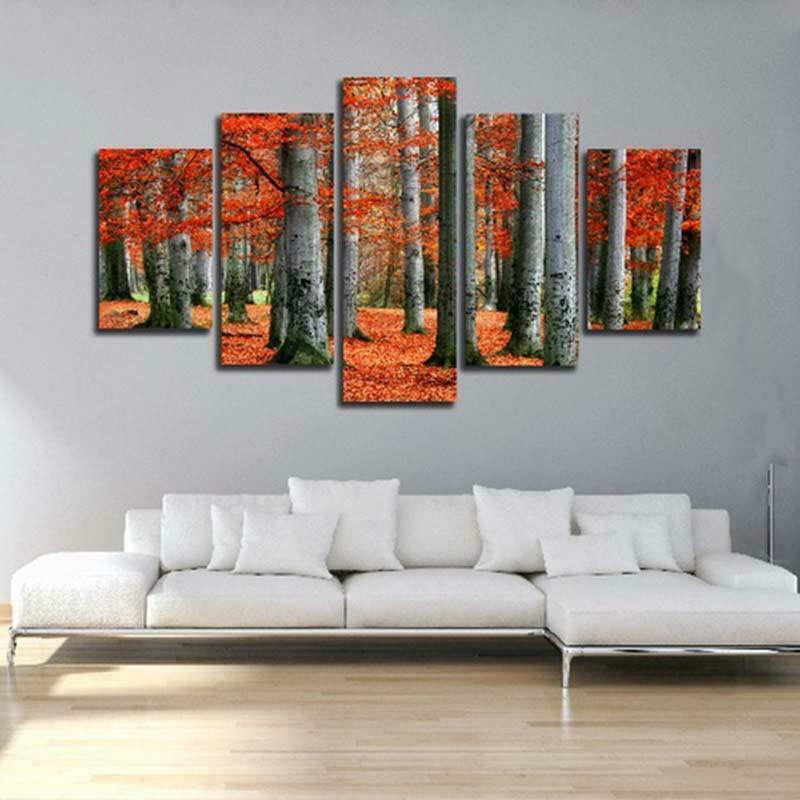 Forest Fallen Leaves 5 panel canvas Wall Art Home Decor Print Painting