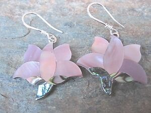 Alpaca-Silver-Abalone-amp-Pink-MOP-Earrings-by-Artesanas-Campesinas-New-mpe006