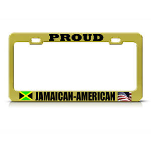 Jamaican American Flags Gold License Plate Frame Jamaica