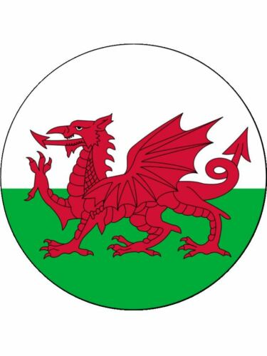 7.5 INCH WALES WELSH NATIONAL FLAG CAKE TOPPERS DECORATIONS ON RICE PAPER