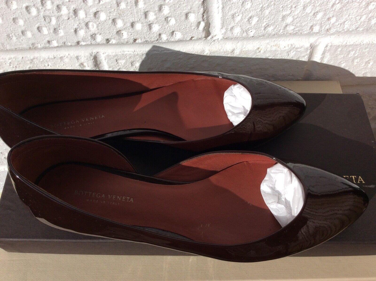 Bottega Veneta brevet Flats 37.5 (4.5 UK) marron EX détenu