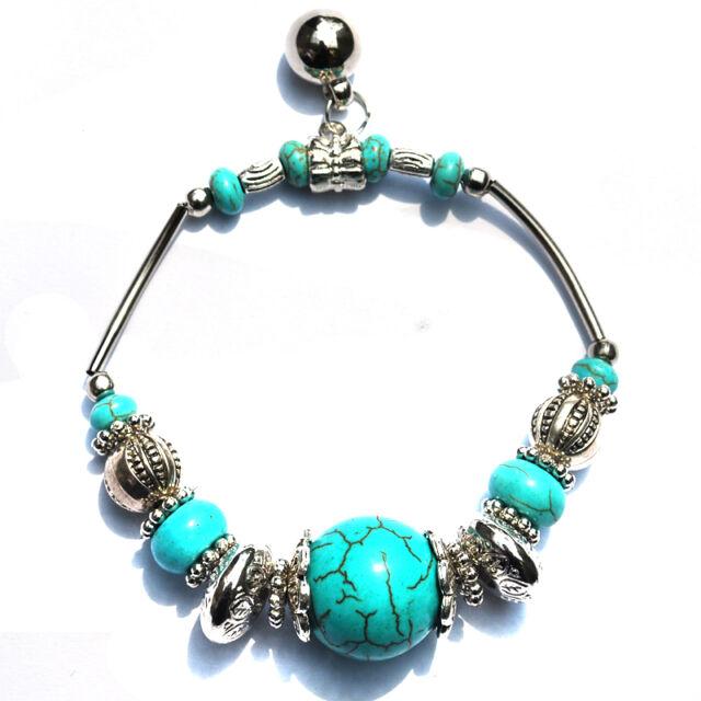 Fashion Jewelry Tibetan Silver Tone Turquoise Bracelet Bead Stretch Bangle