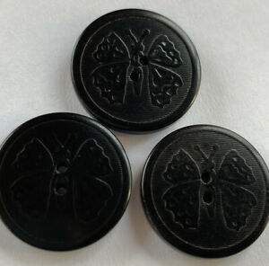 """Antique Vintage Lot Of 3 Vegetable Ivory Picture Buttons Butterfly Insect 3/4"""""""
