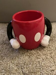 DISNEY-GALERIE-Mickey-Mouse-Arms-Hands-Handles-Red-Pants-Coffee-Mug-Cup