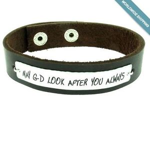 Image Is Loading Message Engraved Bracelet For Men Personalized Leather Mens