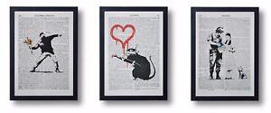 3-FRAMED-BANKSY-ART-PRINTS-ON-OLD-ANTIQUE-BOOK-PAGE-FLOWER-THROWER-DOROTHY-RAT
