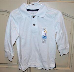 New GARANIMALS Fall Winter School White Long Sleeve Collar Shirt Top Sz 2T 3T 4T