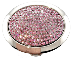 Pink Crystallized Compact 193 Hand Held Makeup Compact Mirror Bejeweled Enameled