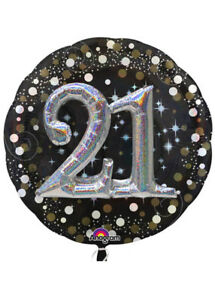 Image Is Loading Large Sparkling Black 3D 21st Birthday Helium Balloon