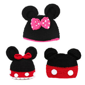 d4cdad9bb47 Minnie Mickey Mouse Ears Baby Knit Cute Cartoon Hat Photo Prop ...