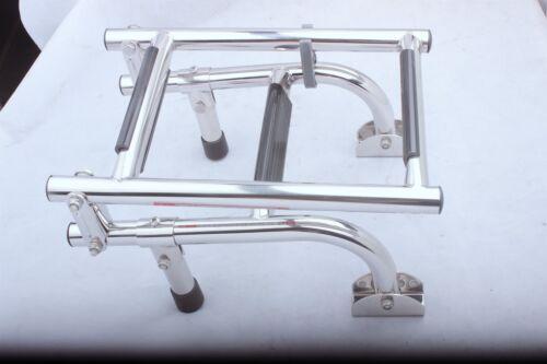 Folding 3 Steps Pontoon Boat Ladder Pool Swim Deck Ladder 316 Stainless Steel