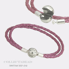 "Authentic Pandora Honeysuckle Pink Leather Bracelet 16.1"" 590734CHP-D3 *LAST ONE"