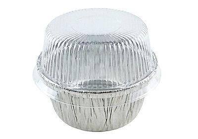 Handi-Foil 4 oz Aluminum Cup w/Clear Plastic Dome Lid 200/PK Cupcake/Ramekin Tin
