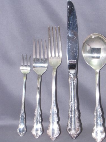 7 piece place setting DRESDEN ROSE REED /& BARTON SILVERPLATE 3 forks 2 spoons+