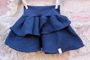 NEU-Handmade-Musselin-Stufenrock-Dunkelblau-034-Wunschgroesse-Kinder-Maedchen-Kleid