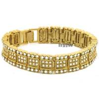 Iced Heavy Gold Plated Micro Pave Simulated Diamond 8.5 Bracelet Kb034g