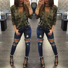 Women Bandage Long Sleeve Camouflage Shirt Slim V Neck Blouse Top T-Shirt