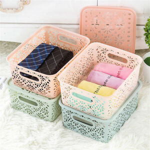 Plastic-Storage-Basket-Box-Bin-Container-Organizer-Clothes-Laundry-Home-Holder
