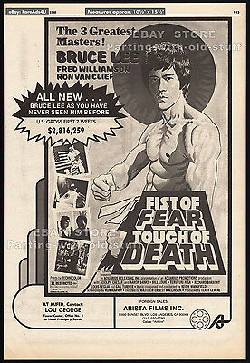 FIST OF FEAR, TOUCH OF DEATH__Original 1980 Trade Print AD / poster__BRUCE LEE