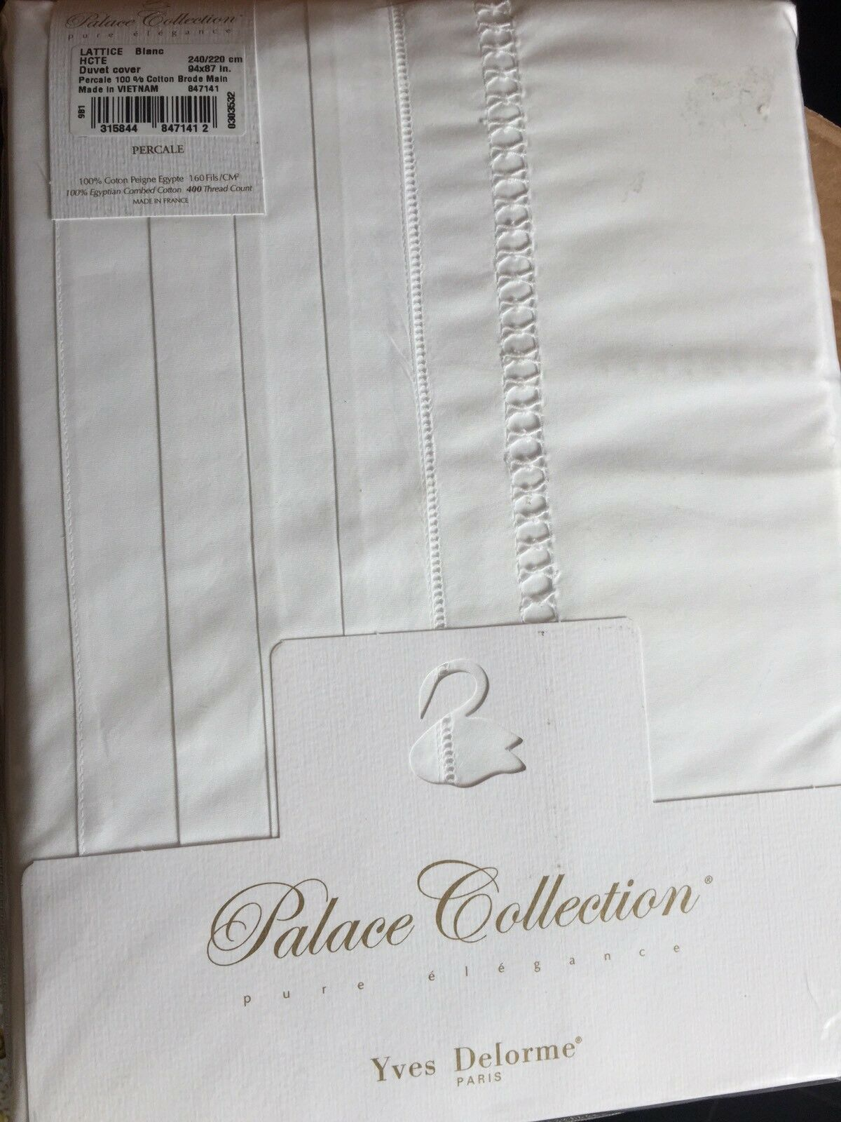 YVES DELORME LATTICE white KING  DUVET COVER SET PALACE COLLECTION LUXURY