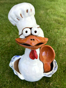 Huhn Koch Kochmütze Kochlöffel Keramik Heckengucker Gartenstecker Kantenhocker