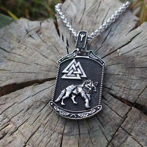 Valknut-Odin-039-s-wolf-Two-sides-Slavic-Pendant-Necklace-Viking-Talisman-Jewelry