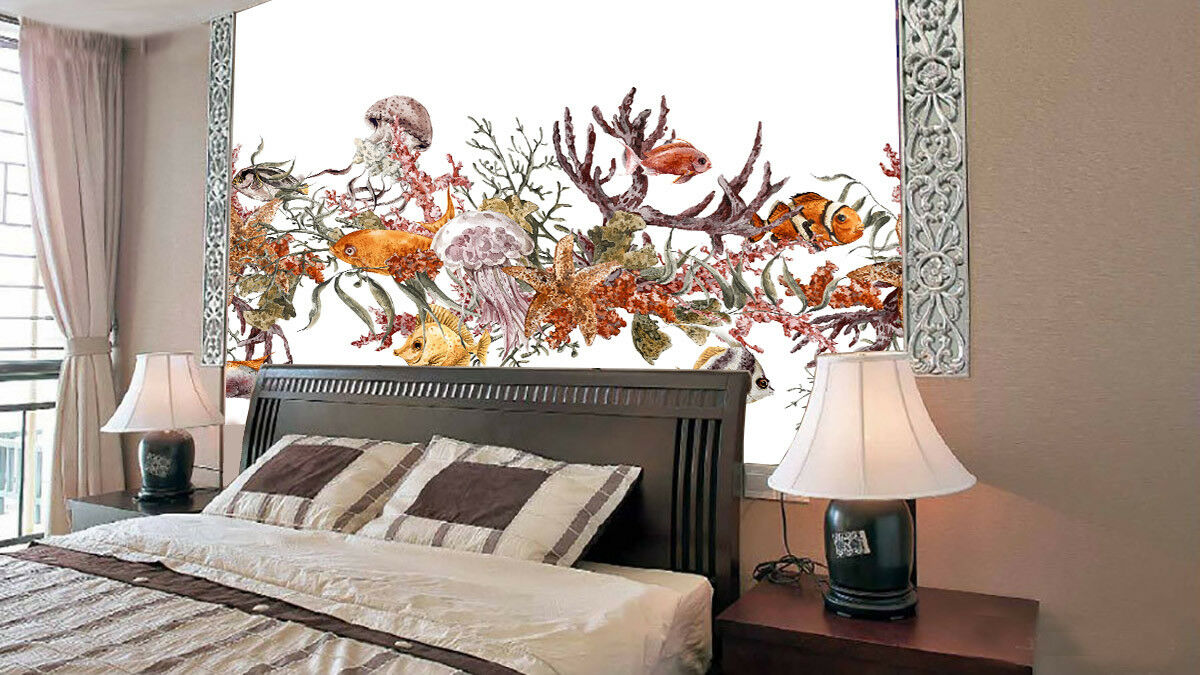 3D Seaweed Fish 82 Wallpaper Mural Paper Wall Print Wallpaper Murals UK Lemon
