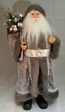 "Santa Claus Nordic Silver Grey Figure Christmas Tree Table Decor Large 18"""