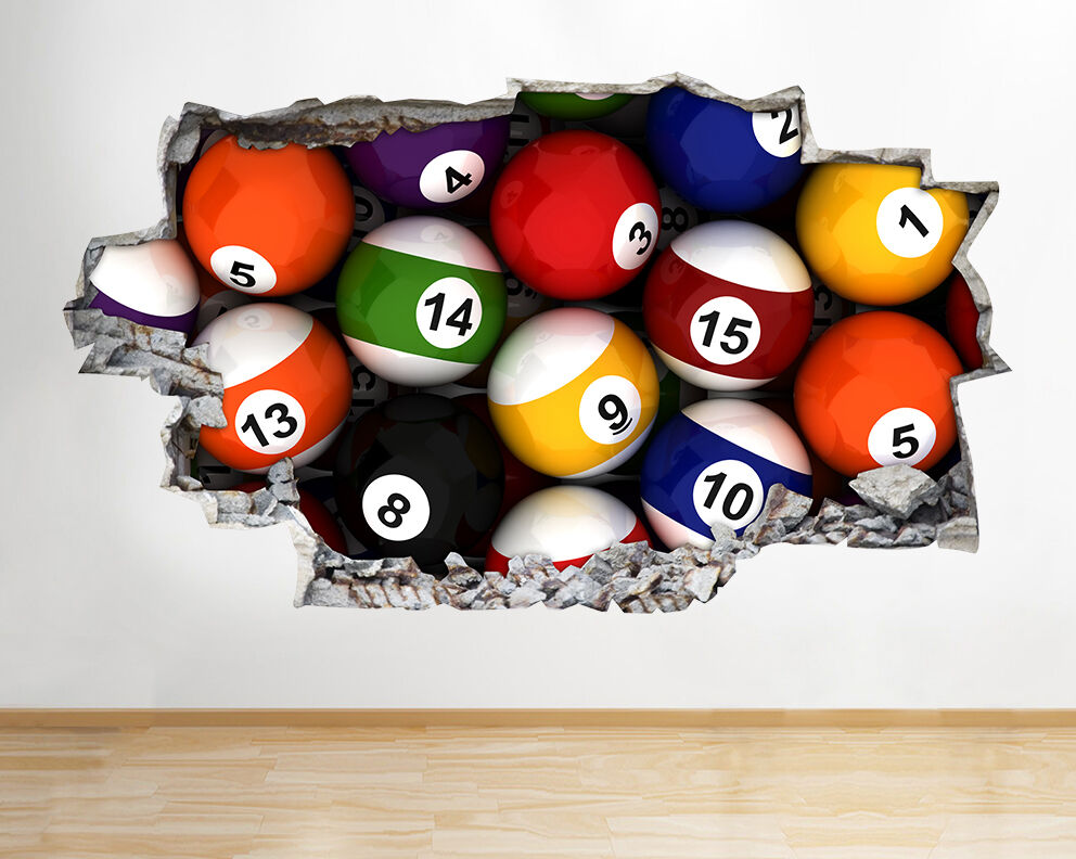 Wall Stickers Snooker Table Pool Balls Bar Colourful Boys Decal 3D Art