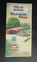 1970 Ohio Michigan road map Gulf oil gas