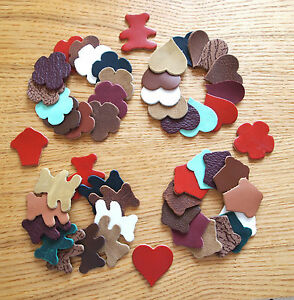 HEART LEATHER DIE-CUT SHAPES: BEAR CUPCAKE; ASSORTED COLOURS 1 mm FLOWER
