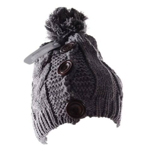 Womens Teen Flagstaff Cable Knit Knitted Bobble Hat with Buttons HAI-783