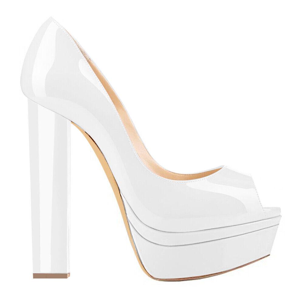 48ccf309d19 Onlymaker Female Peep Toe Platform Block High Heels Heels Heels Lady ...