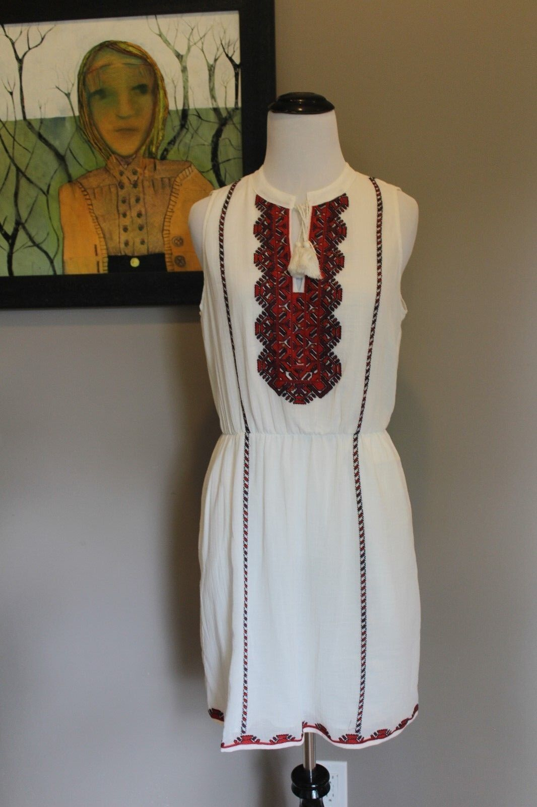 NWT Madewell Embroidered Tassle Dress Sz 6 Small C3449 Sold Out Online  148