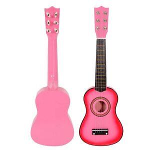 pink 21 6 string beginners practice acoustic guitar musical instruments kids ebay. Black Bedroom Furniture Sets. Home Design Ideas
