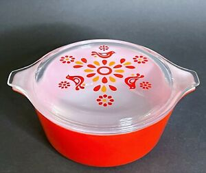 Vintage Pyrex Friendship Red Round Casserole & Lid #472 1-1/2 Pint Clear Lid