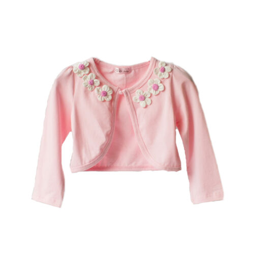 Cotton Flower Bolero in Pink Ivory Off white 18-24 Months 2 3 4 5 6 Years