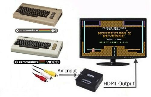 RCA AV To HDMI HDTV Adapter Converter For The Commodore 64 128 /& VIC-20 Computer