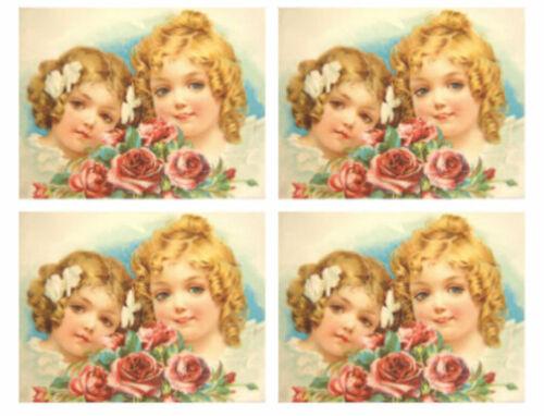 Vintage Image Two Victorian Little Girls Sisters Roses Waterslide Decals KID624