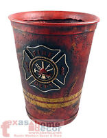Fireman Waste Basket Maltese Cross Emblem Red Orange Hose Color Firefighter