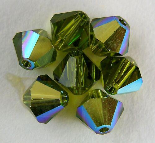 Please read item description 5 6mm Swarovski 5301 Crystal Bicones Olivine AB