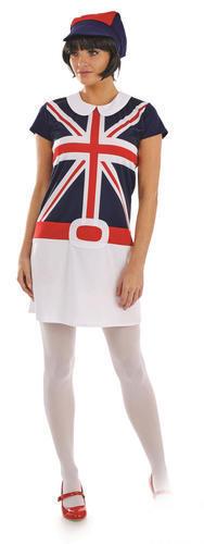 Mod Girl Ladies Fancy Dress Swinging 60s Union Jack British Flag Adults Costume
