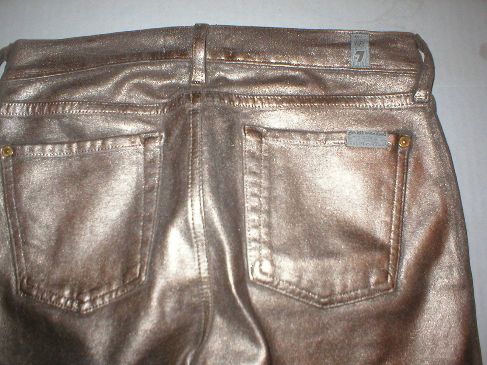 New 7 FAM Jeans For All Mankind Womens Leather Coated gold Bronze Metallic 27